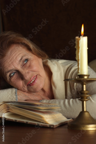 Pretty Caucasian aged woman sitting