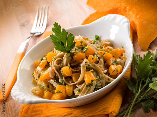 tagliatelle with pimpikins and parsley, vegetarian food
