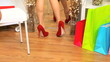 Trying Red Stiletto Shoes for Size
