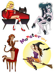 Halloween Monster girls group on isolated background