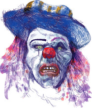 scary clown (dessin, isolé sur blanc)