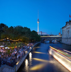 Strand bar on Spree river, night in Berlin