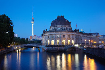 Museum Island on Spree river, Berlin by night