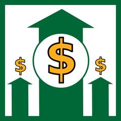 Rising dollar - vector illustration