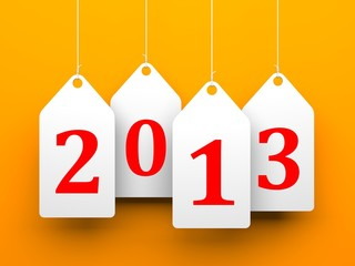 White tags with 2013 on orange background