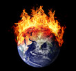 Burning earth globe east hemisphere