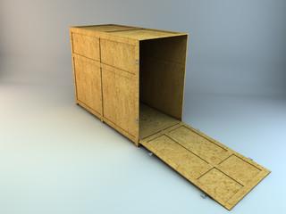 Caixa madeira aberta