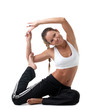 perfect woman sit in fitness costume on white