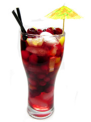 fruit red punch cocktail drink with strawberry