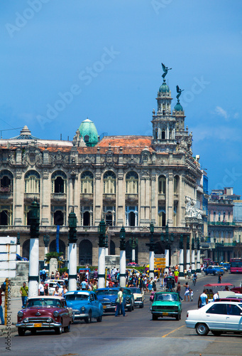 Great Theatre and heavy trafic, old town, Havana, Cuba