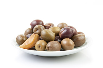 variety of olives on a plate