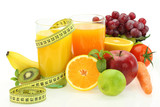 Diet and nutrition. Fresh fruits, vegetables and juice