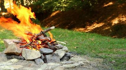Man making a bonfire