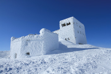 Old fortress in the snow.