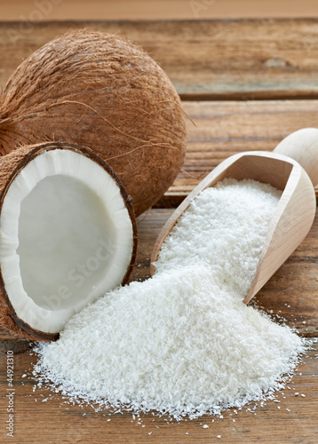 coconut grounded dried flakes fruit food