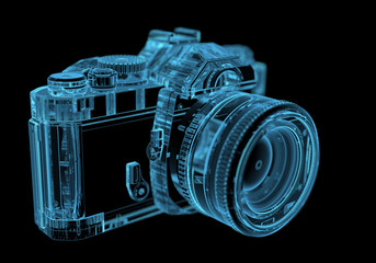 DSLR SLR camera (3D xray blue transparent)