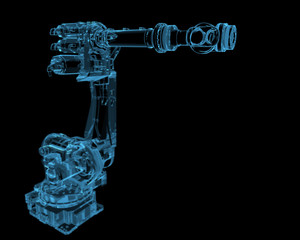 Industrial robot (3D xray blue transparent)
