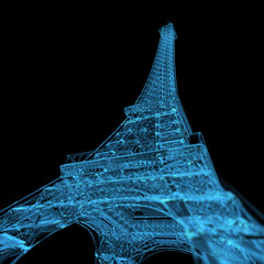 Eiffel Tower (3D xray blue transparent)