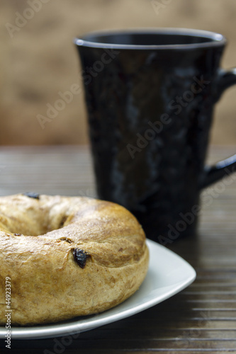 Breakfast Bagel with coffee