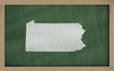 outline map of pennsylvania on blackboard