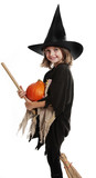 little hallowen witch with broom and pumpkin