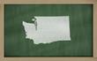 outline map of washington on blackboard