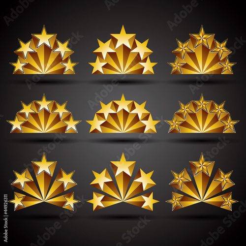 Five stars classic style icons set.