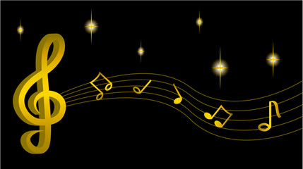 Gold treble clef with notes, music Vector