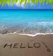 Brown sand beach with written word Hello
