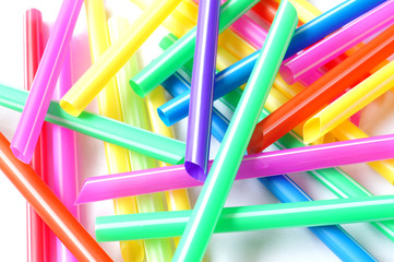 colorful of plastic straw