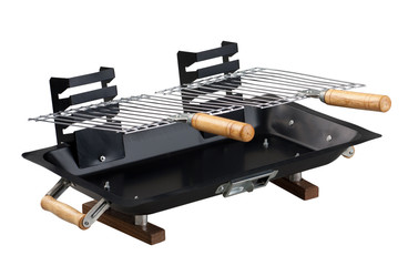Outdoor barbecue tool set isolated