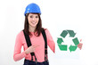 young craftswoman showing recycling logo