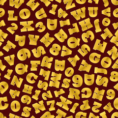 Seamless background of gold letters