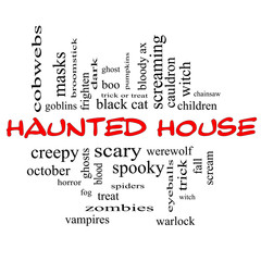Haunted House Word Cloud Concept in red & black