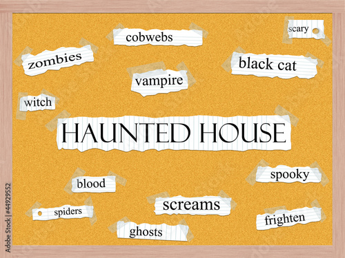 Haunted House Corkboard Word Concept