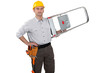 Worker carrying ladder