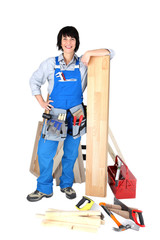 Female carpenter with tools