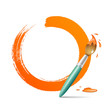 Paint brush. paint circle orange background, vector