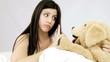 Happy beautiful woman play with stuffed animal