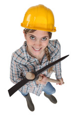 Construction worker holding a pickaxe