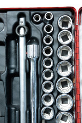 Socket wrench set in toolbox.