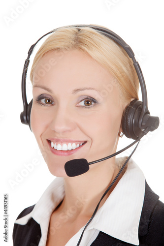 How can I help you? Call center operator against white
