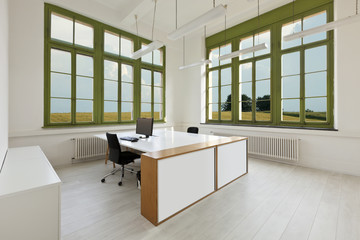 interior, office with furniture white, view from window.