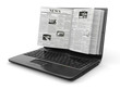 News. Newspaper as  laptop screen on white background.