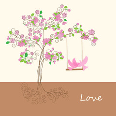 Decorative pink spring tree with flowers and dove