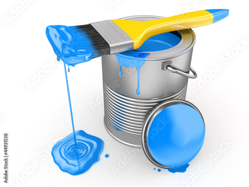 Paint can and paintbrush. 3d