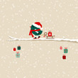 Dark Green Bird Skiing Pulling Sleigh With Gift On Tree