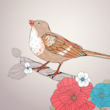 Vector Illustration of a Bird and Floral Elements