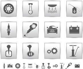 Vector car set icons. auto service square gray