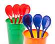 cups and spoons; recyclable plastic
